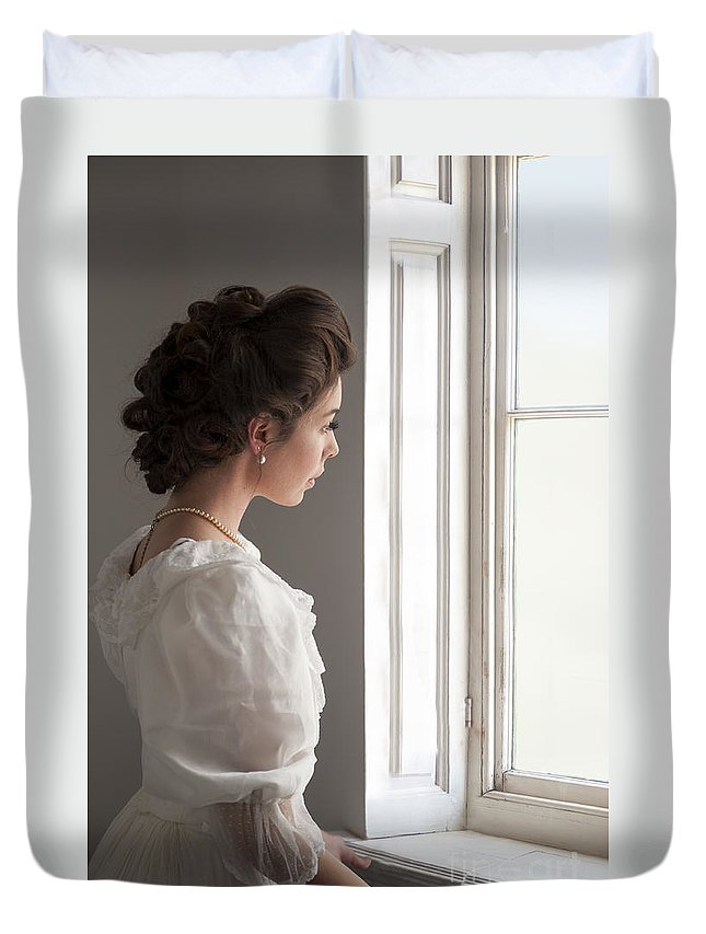 Edwardian Duvet Cover featuring the photograph Edwardian Woman At The Window by Lee Avison
