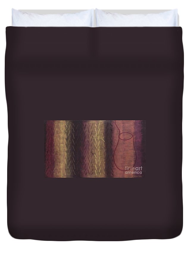 Acrylic Duvet Cover featuring the painting Embodiment - Divine Source by Kerryn Madsen- Pietsch