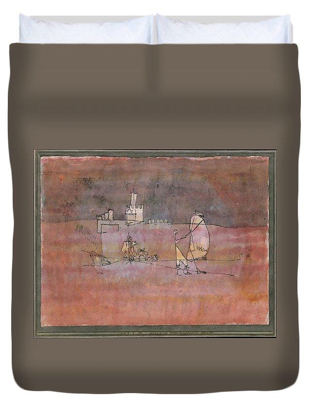 Paul Klee Episode Before An Arab Town Duvet Cover featuring the painting Episode Before An Arab Town by Paul Klee