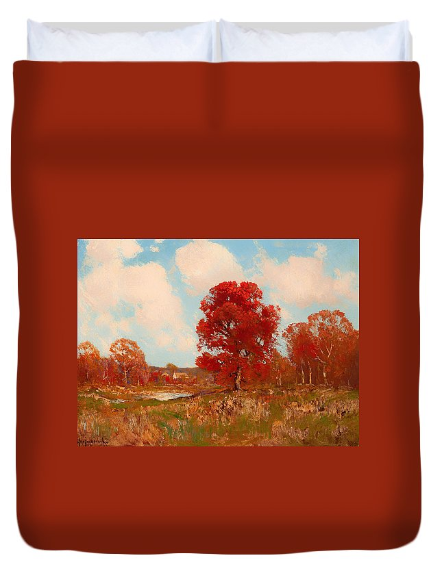 Painting Duvet Cover featuring the painting Fall Landscape by Mountain Dreams