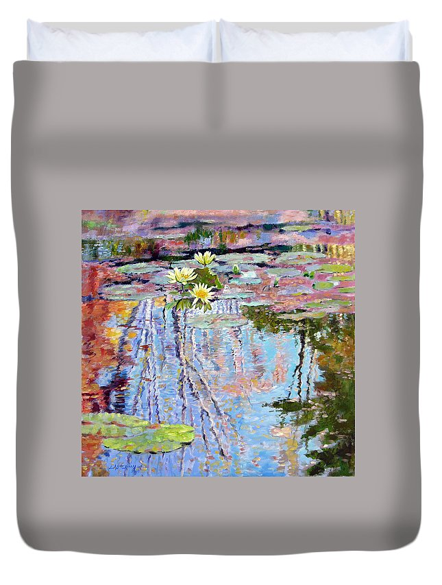 Garden Pond Duvet Cover featuring the painting Fall Reflections by John Lautermilch