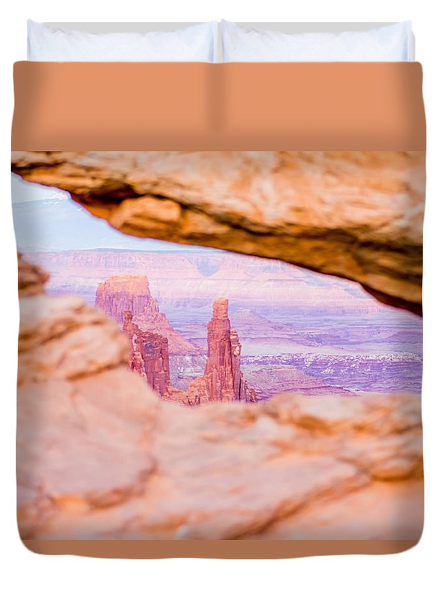 Arch Duvet Cover featuring the photograph famous Mesa Arch in Canyonlands National Park Utah USA by Alex Grichenko