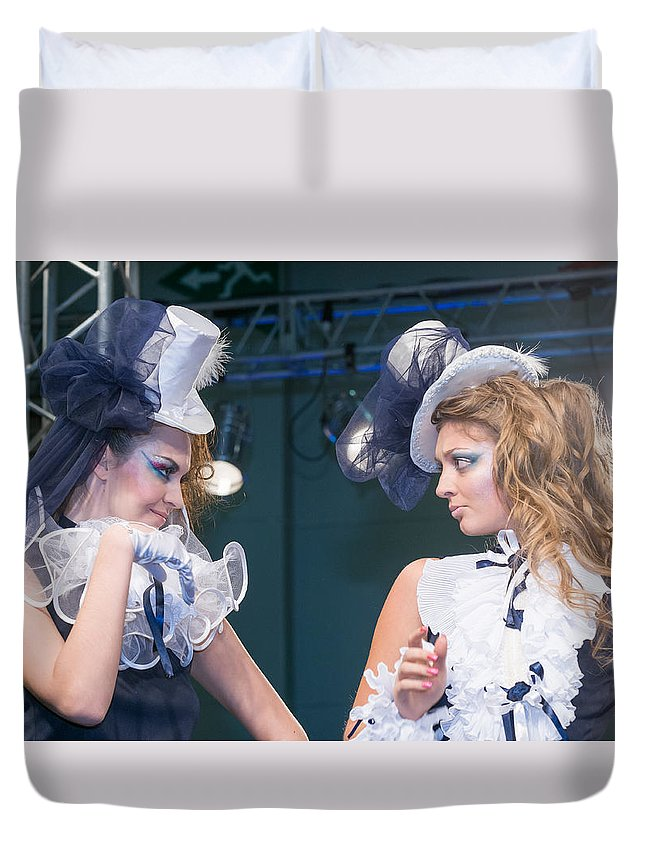 Editorial Duvet Cover featuring the photograph Fashion Show Catwalk by Nikita Buida