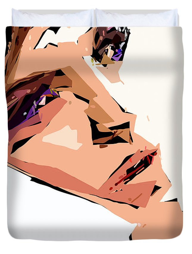 Female Duvet Cover featuring the digital art Female Expressions Xii by Rafael Salazar