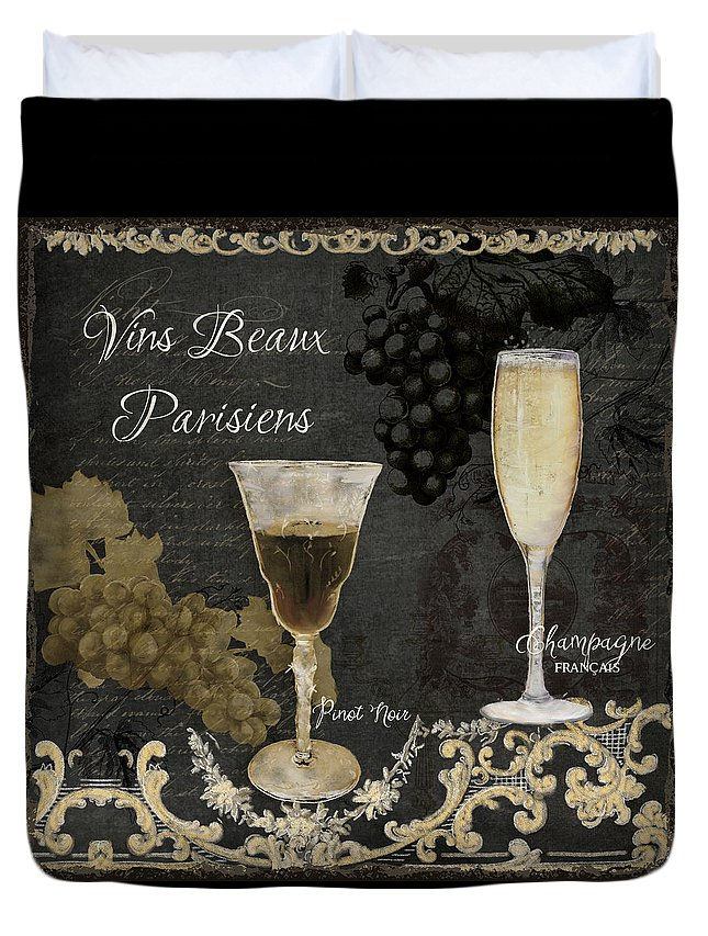 Chalk Duvet Cover featuring the painting Fine French Wines - Vins Beaux Parisiens by Audrey Jeanne Roberts