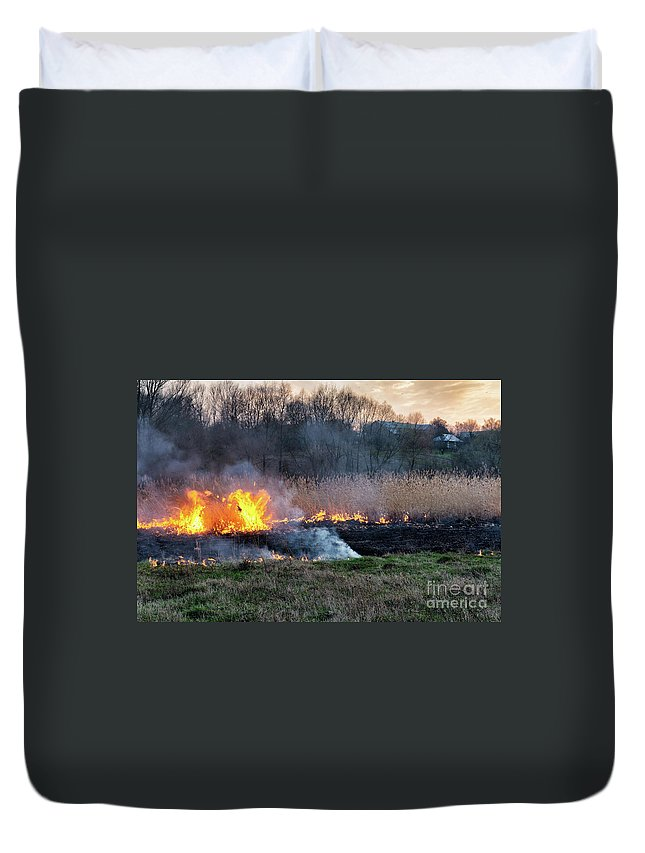 Nature Duvet Cover featuring the photograph Fires Sunset Landscape by Oleksandr Masnyi