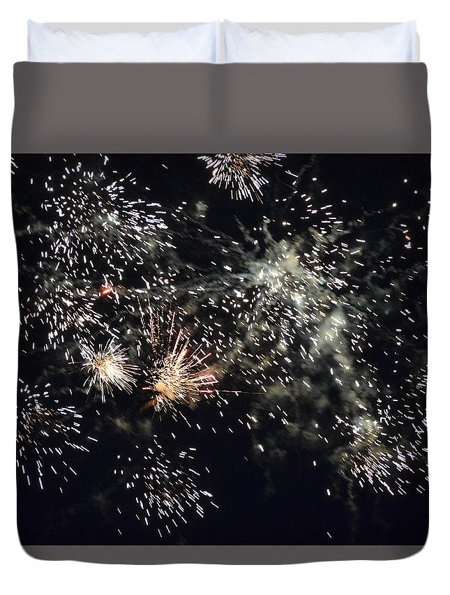 Duvet Cover featuring the pyrography Fireworks by Kaouther Zitouni