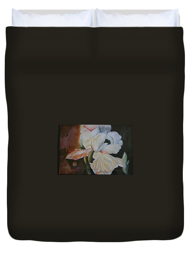 Or Irisacrylic Paintings Duvet Cover featuring the painting Fleur-de-lis by Donna Steward