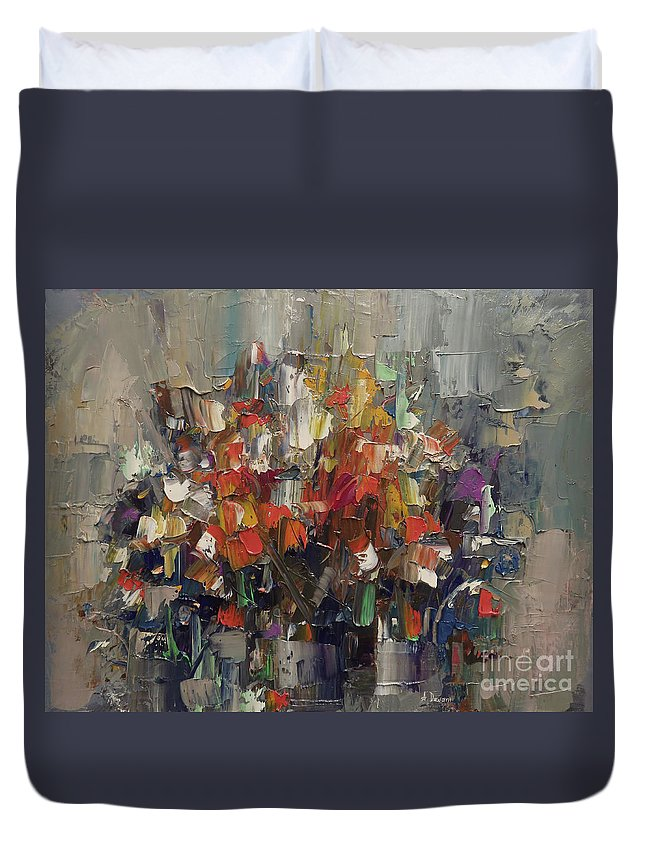 Abstract Duvet Cover featuring the painting Floral Abstract by Ana Dawani