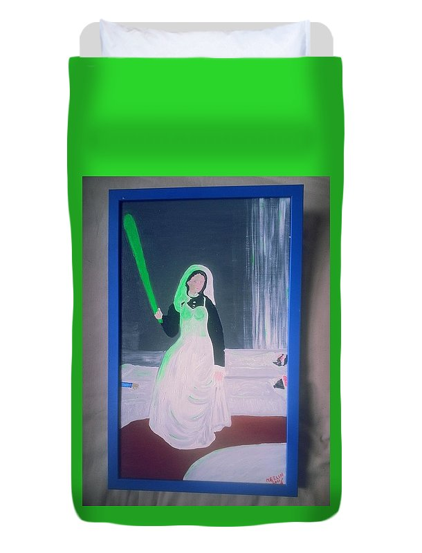 Figurative Duvet Cover featuring the painting Florescent Lighting Gale by MERLIN Vernon