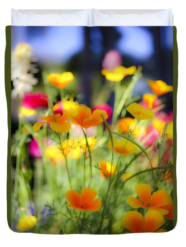 Yellow Duvet Cover featuring the photograph Flowering Garden by Gal Eitan