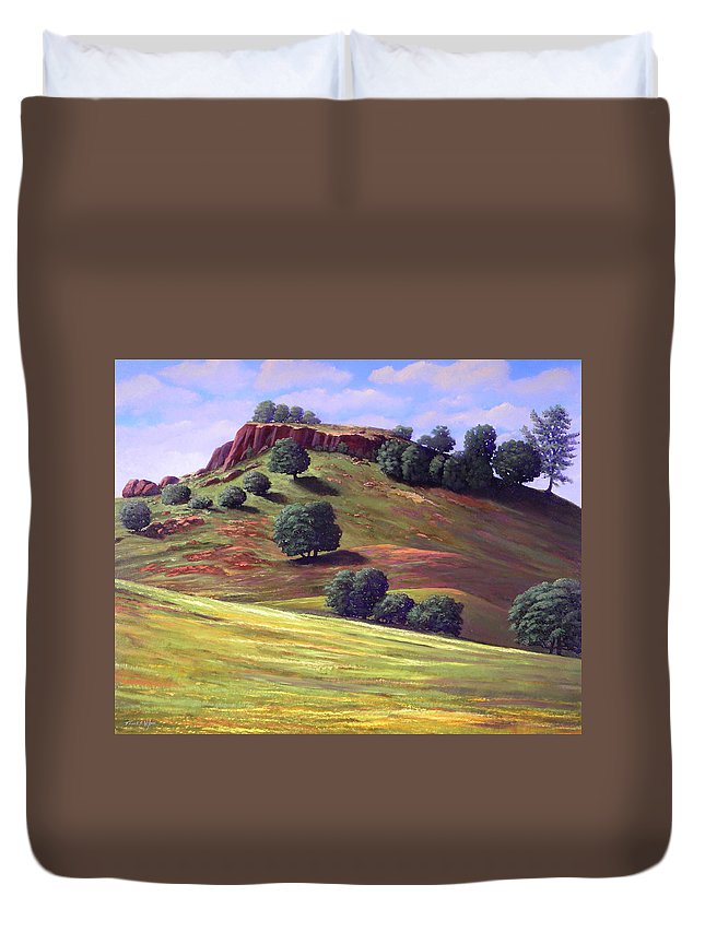 Landscape Duvet Cover featuring the painting Flowering Meadow by Frank Wilson