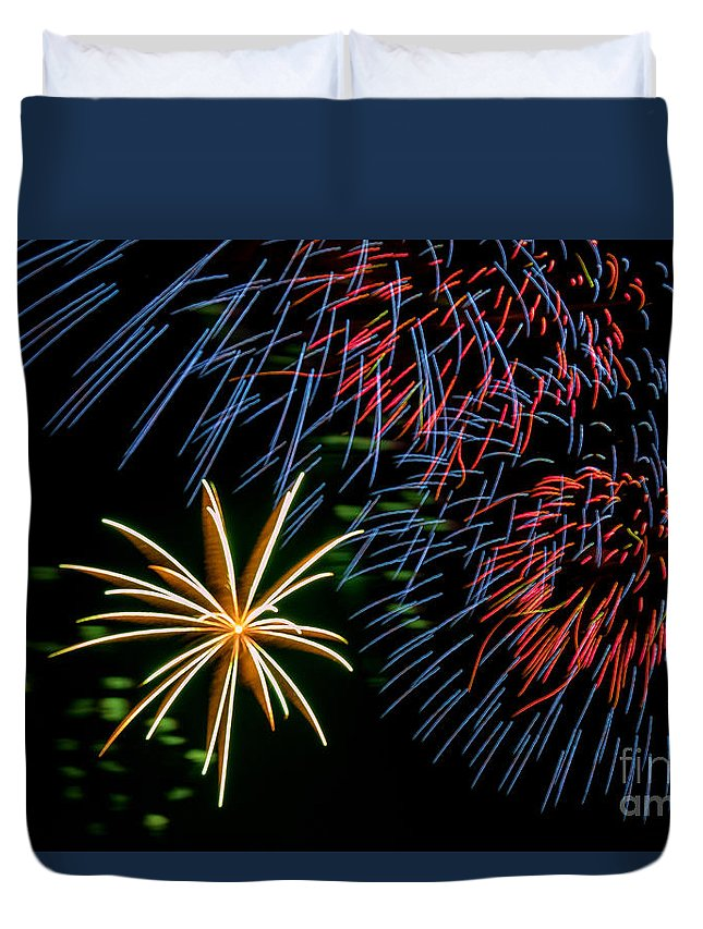 Marquette Michigan Duvet Cover featuring the photograph Fourth Of July Fireworks by Upper Peninsula Photography