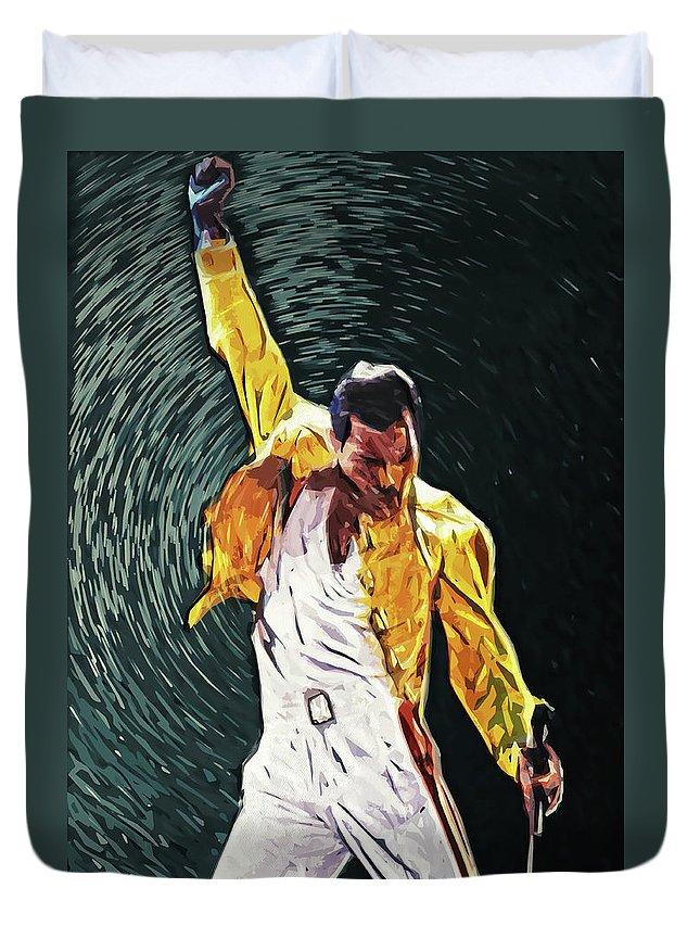 Queen Duvet Cover featuring the digital art Freddie Mercury by Zapista OU