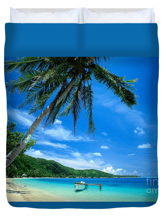 Afternoon Duvet Cover featuring the photograph French Polynesia, Huahine by Rita Ariyoshi - Printscapes