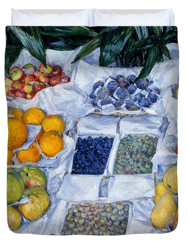 Painting Duvet Cover featuring the painting Fruit Displayed On A Stand by Mountain Dreams