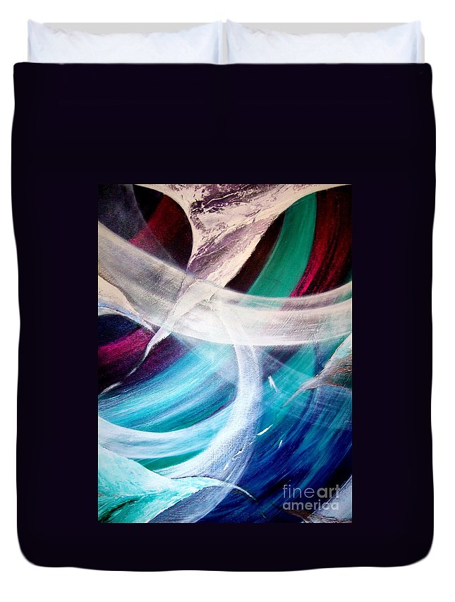 Gaia Duvet Cover featuring the painting Gaia Symphony by Kumiko Mayer