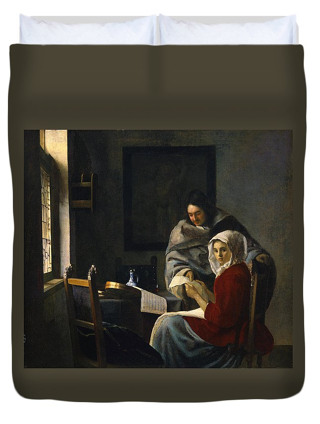 Johannes Vermeer Duvet Cover featuring the painting Girl Interrupted At Her Music by Johannes Vermeer