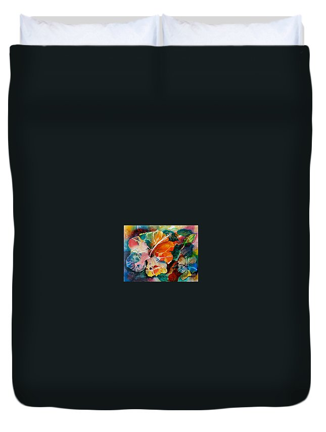 Painting Duvet Cover featuring the painting Glowing by Mohamed Hirji
