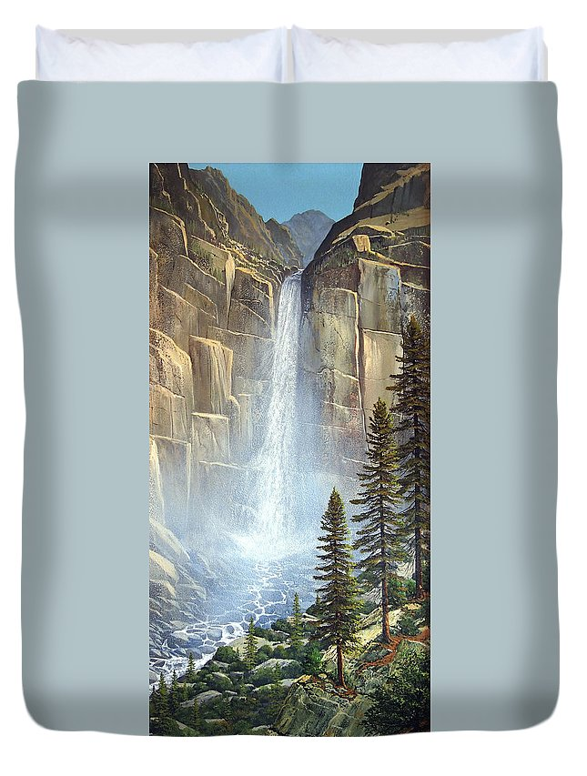 Great Falls Duvet Cover featuring the painting Great Falls by Frank Wilson