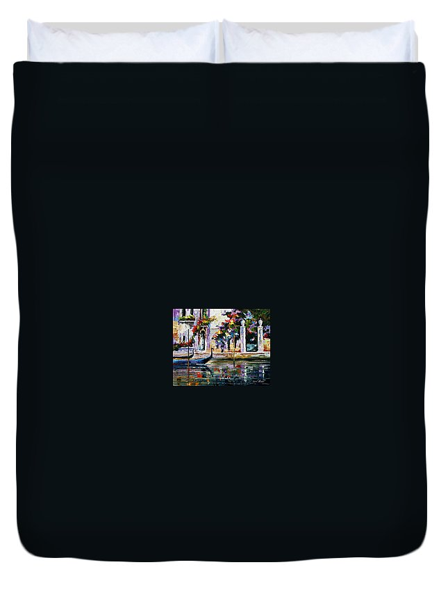City Duvet Cover featuring the painting Greece by Leonid Afremov