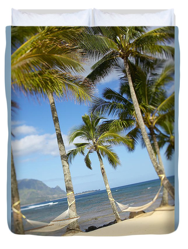 Angle Duvet Cover featuring the photograph Hanalei Bay, Hammock by Kyle Rothenborg - Printscapes