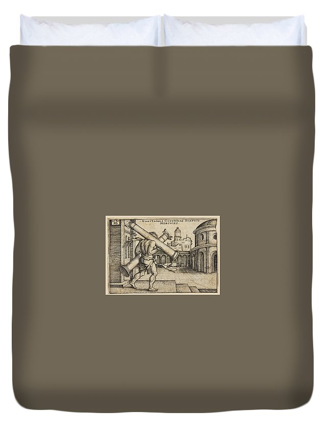 Sebald Beham Duvet Cover featuring the drawing Hercules Carrying The Columns Of Gaza by Sebald Beham