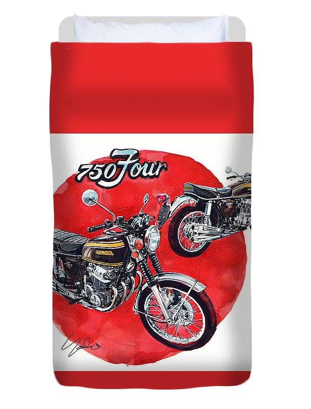 Japanese First Big Bike Duvet Cover featuring the painting Honda Cb750 Four by Yoshiharu Miyakawa