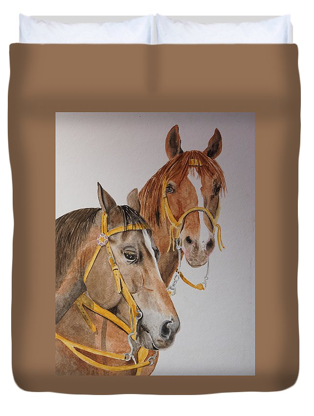 Horse Duvet Cover featuring the painting 2 Horses by Gary Thomas
