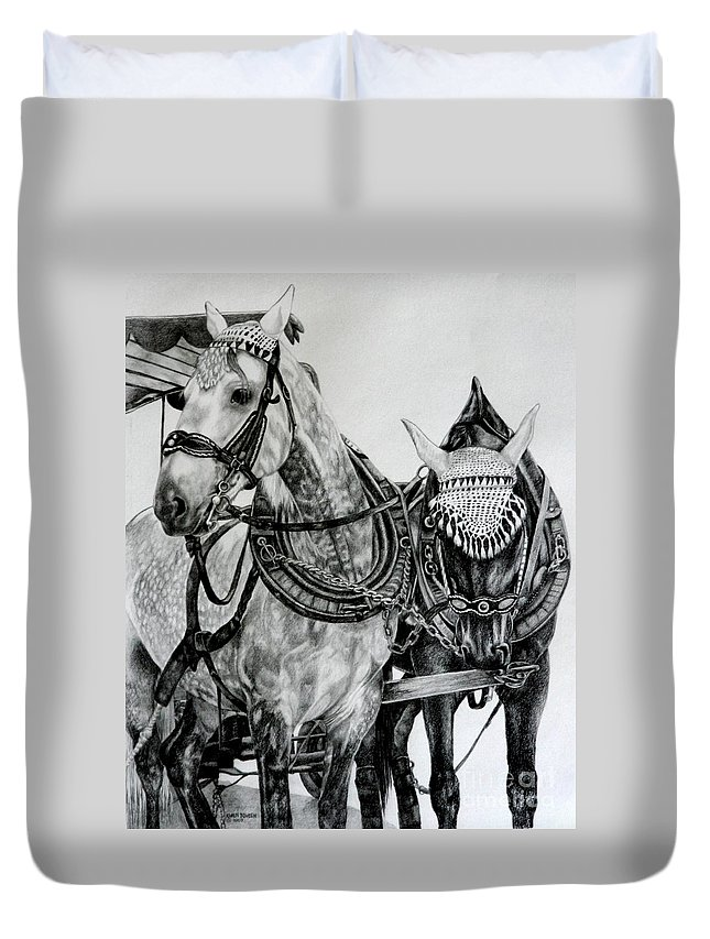Horse Pencil Black White Germany Rothenburg Duvet Cover featuring the drawing 2 Horses Of Rothenburg 2000usd by Karen Bowden