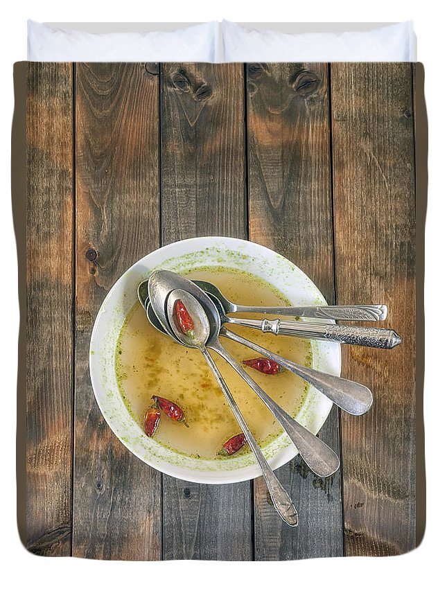 Spoon Duvet Cover featuring the photograph Hot Soup by Joana Kruse