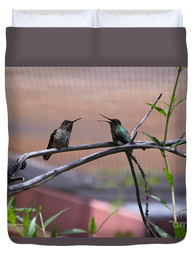 Duvet Cover featuring the photograph 2 Hummingbirds by Kevin Mcenerney