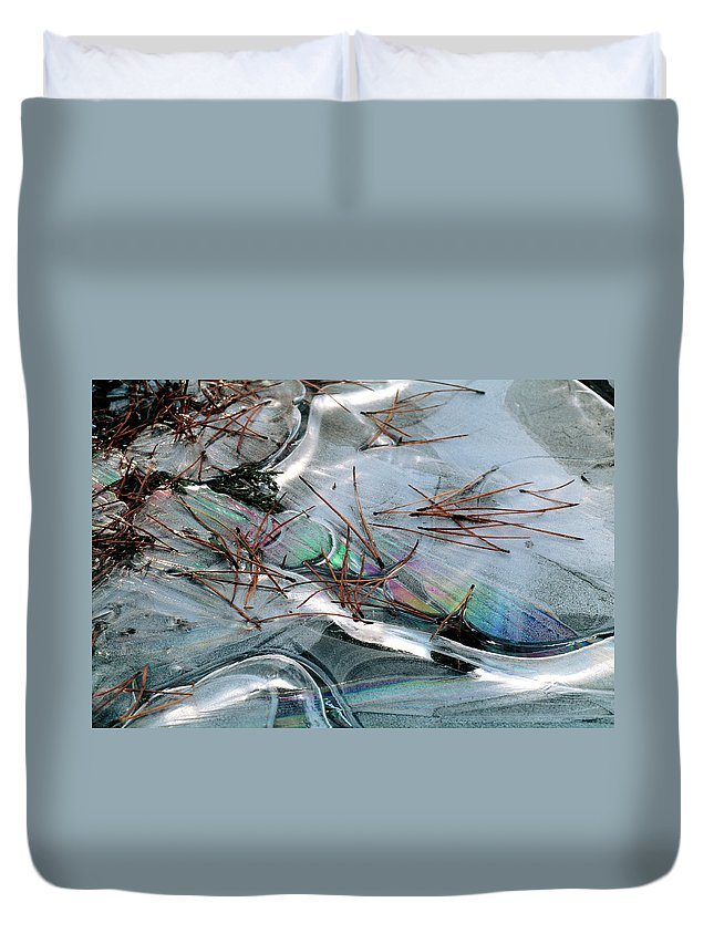 Duvet Cover featuring the photograph 2. Ice Prismatics 1, Slaley Sand Quarry by Iain Duncan