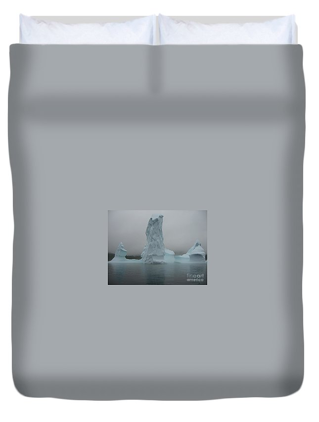 Icebergs Newfoundland Duvet Cover featuring the photograph Icebergs by Seon-Jeong Kim
