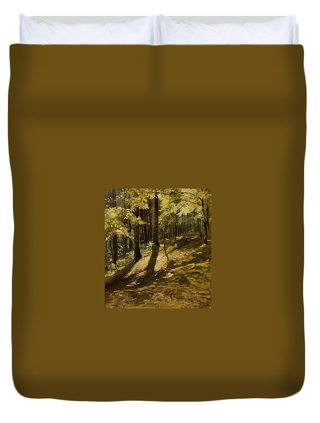 Julius Mařák (czech Duvet Cover featuring the painting In A Forest by MotionAge Designs