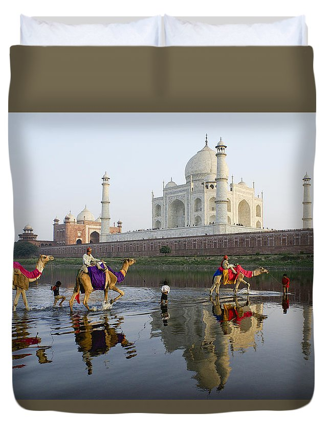Taj Mahal Duvet Cover featuring the photograph India's Taj Mahal by Michele Burgess