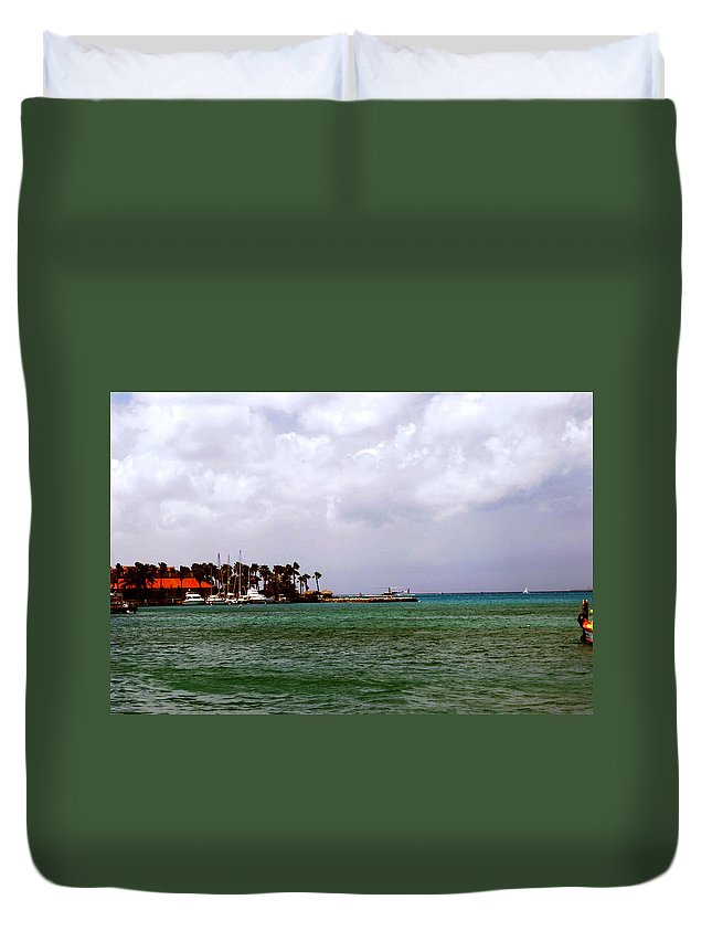 Harbor Duvet Cover featuring the photograph Island Harbor by Gary Wonning