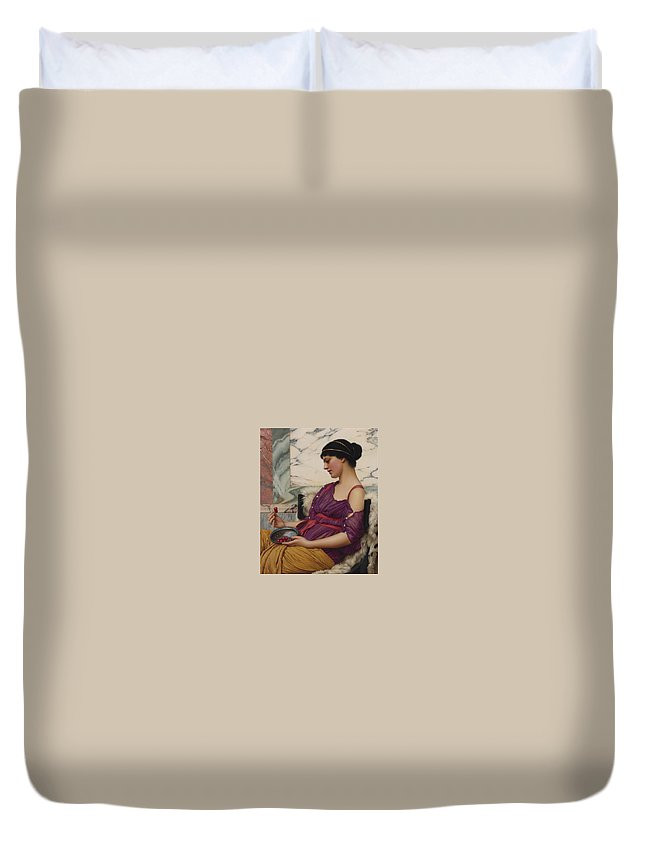 John William Godward (british Duvet Cover featuring the painting Ismenia by John William