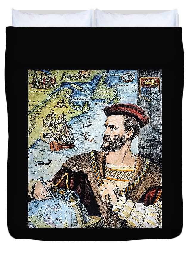 16th Century Duvet Cover featuring the photograph Jacques Cartier (1491-1557) by Granger