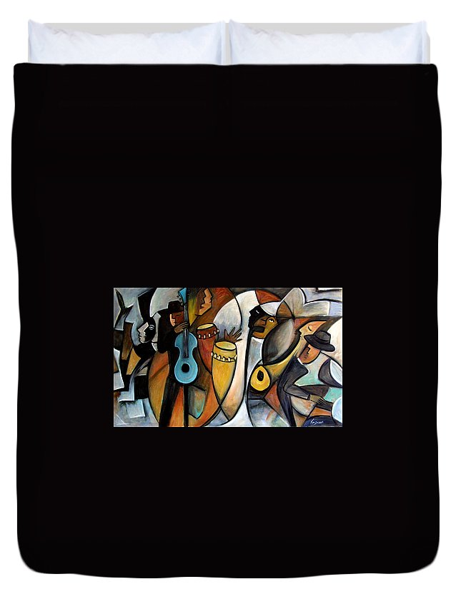 Latin Jazz Musicians Duvet Cover featuring the painting Jazzz by Valerie Vescovi