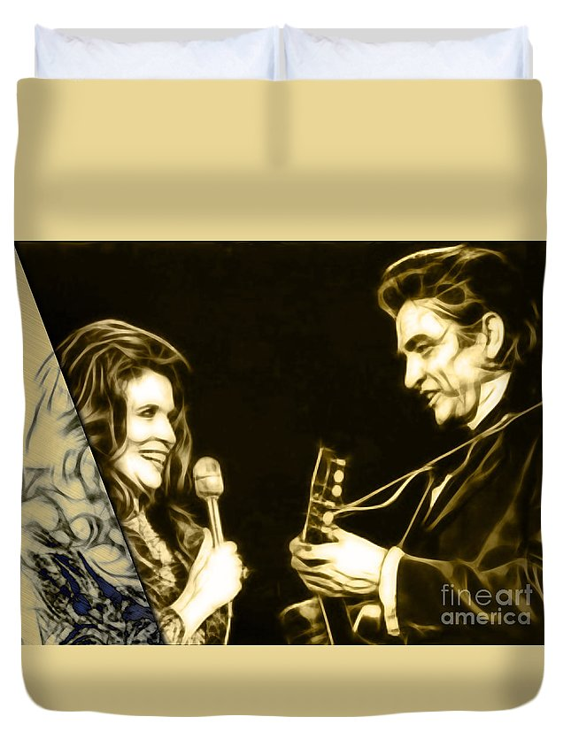 Johnny Cash Duvet Cover featuring the mixed media June Carter And Johnny Cash Collection by Marvin Blaine
