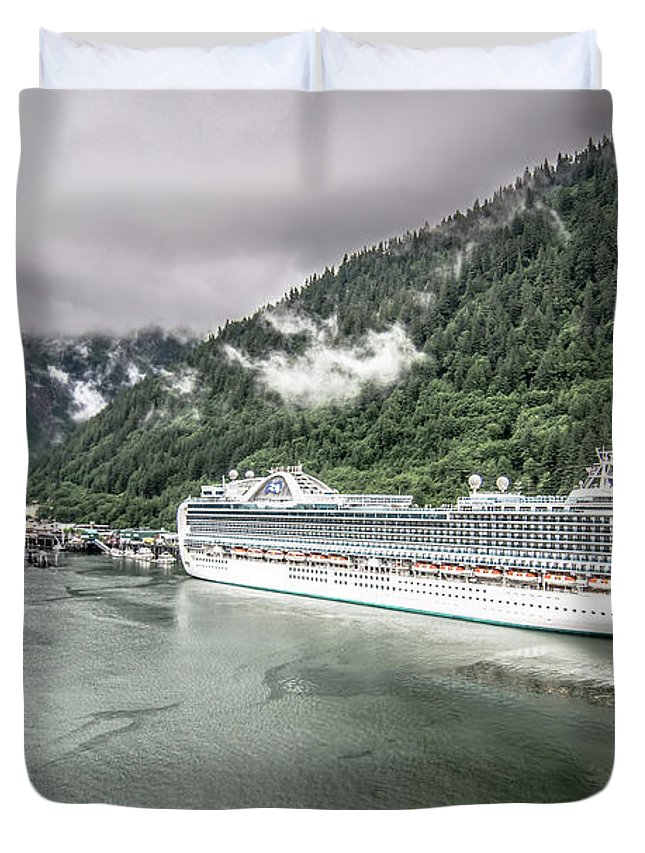 Day Duvet Cover featuring the photograph Juneau Alaska Usa Northern Town And Scenery by Alex Grichenko