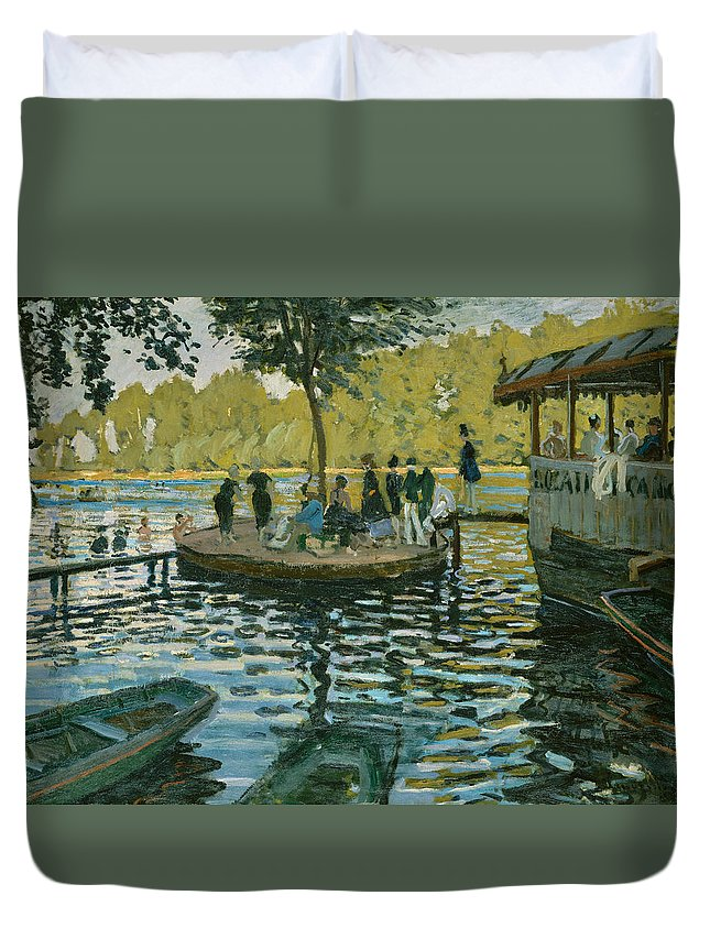 Boat Duvet Cover featuring the painting La Grenouillere by Claude Monet