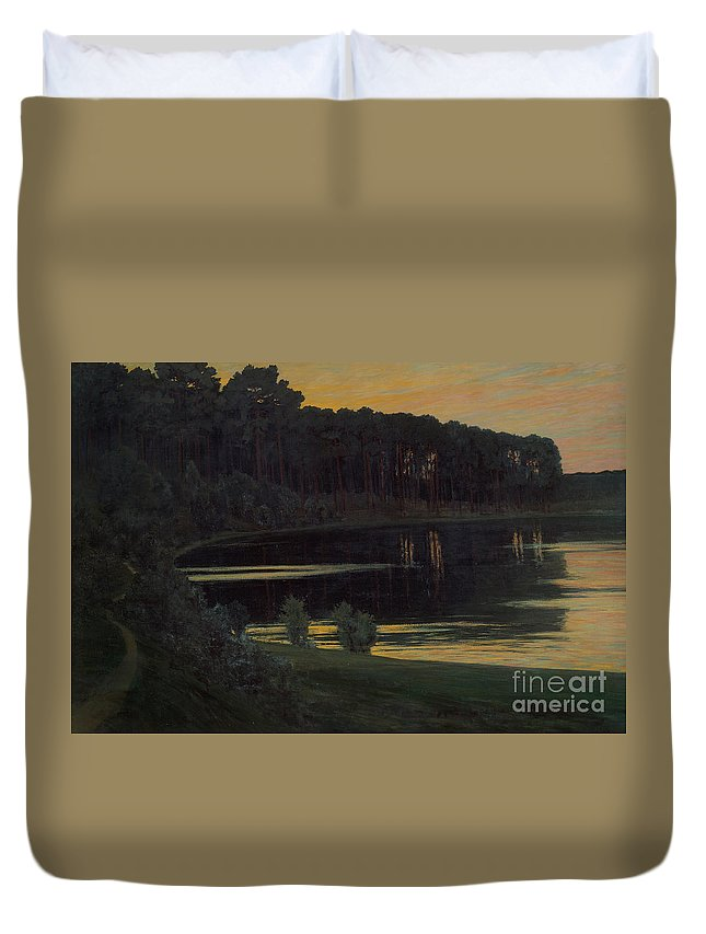 Walter Leistikow Duvet Cover featuring the painting Lake Grunewald by Celestial Images
