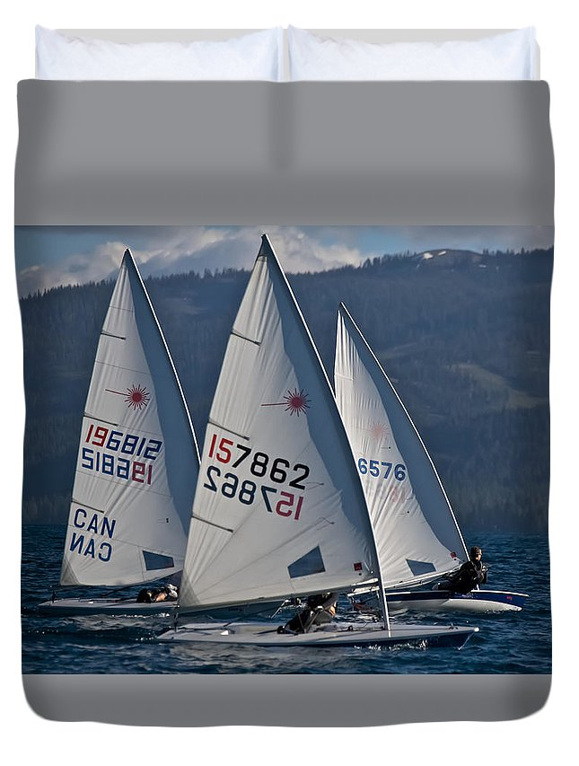 Sail Duvet Cover featuring the photograph Lake Tahoe Lasers by Steven Lapkin