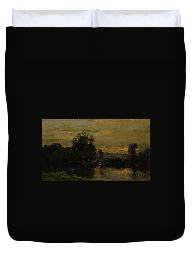 Landscape With Ducks Duvet Cover featuring the painting Landscape With Ducks by Charles