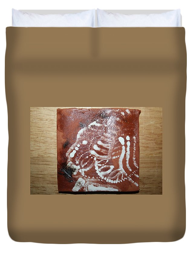 Jesus Duvet Cover featuring the ceramic art Last One - Tile by Gloria Ssali