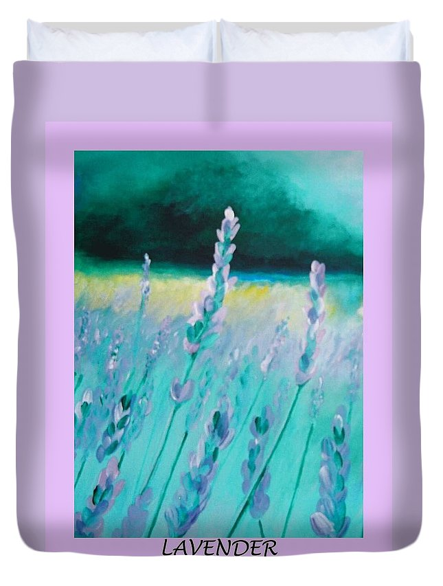 Lavender Duvet Cover featuring the painting Lavender by Eric Schiabor