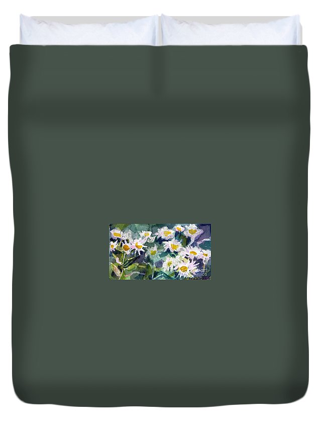 Flowers Duvet Cover featuring the painting Little Asters by Jan Bennicoff