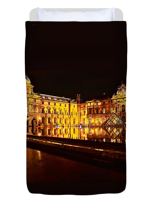Danica Radman Duvet Cover featuring the photograph Louvre Pyramid by Danica Radman